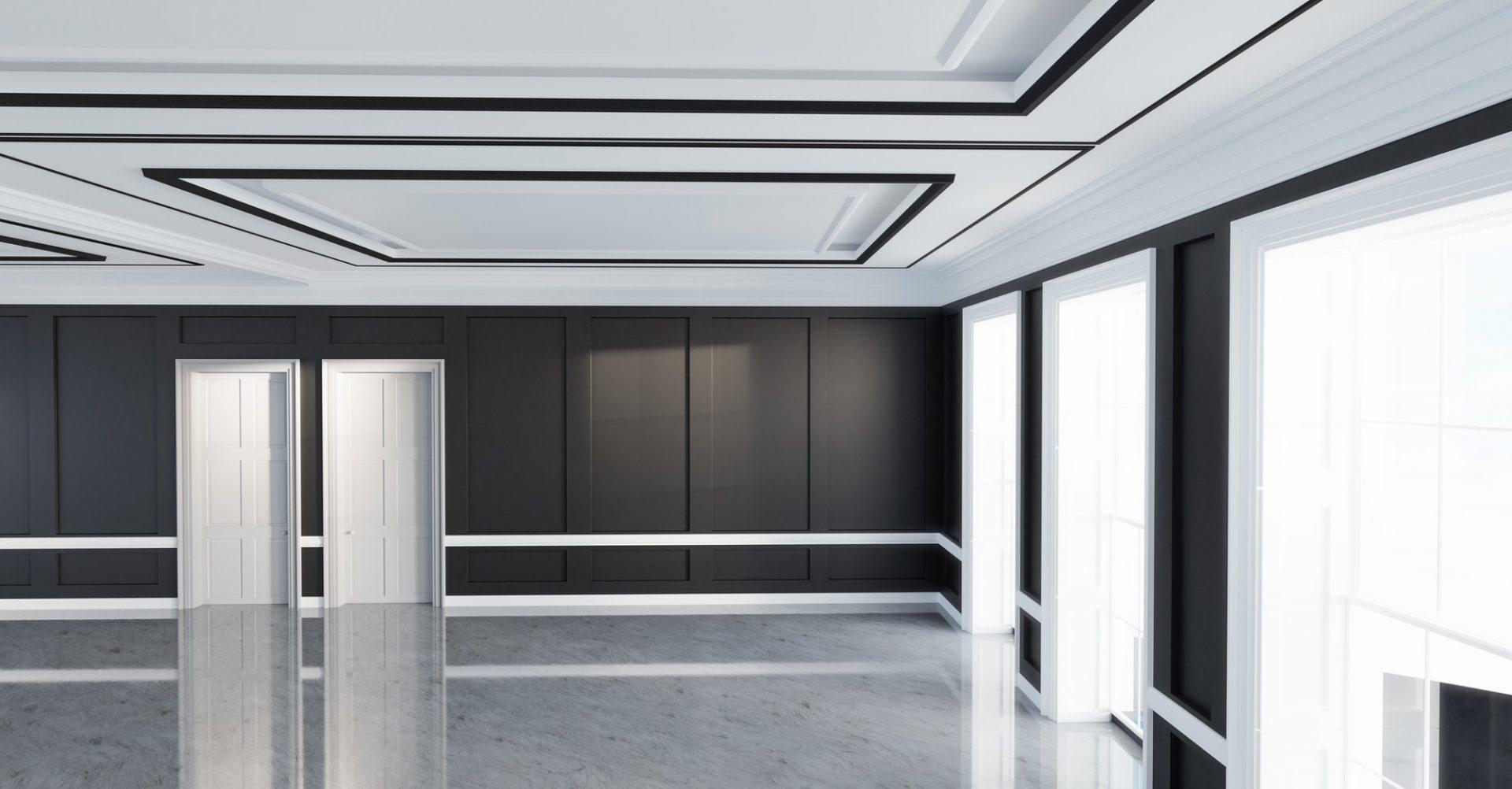 Classic empty interior apartment with vinyl flooring.